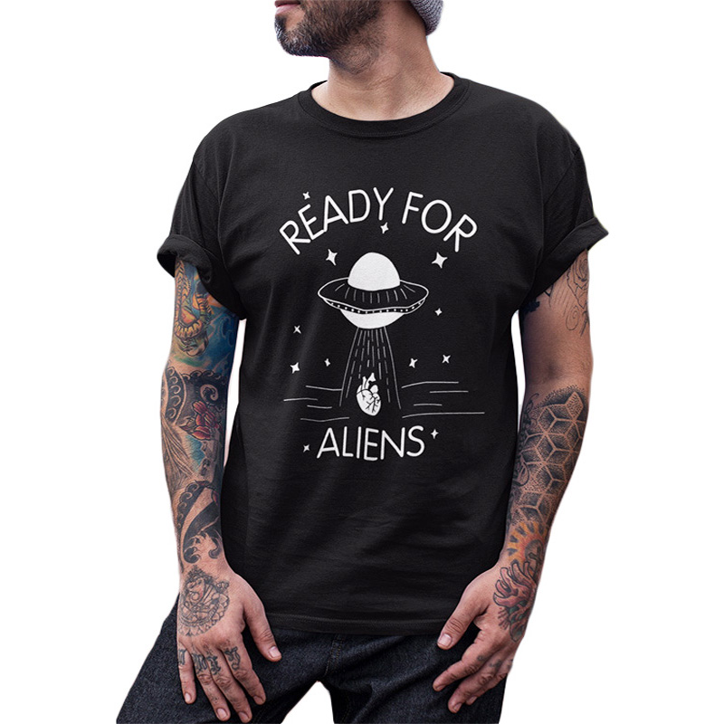 Ready For Aliens   T     Shirt   Funny UFO Take Away Your Heart Black White Summer Tops Tee Homme 100% Cotton EU Size Tshirt