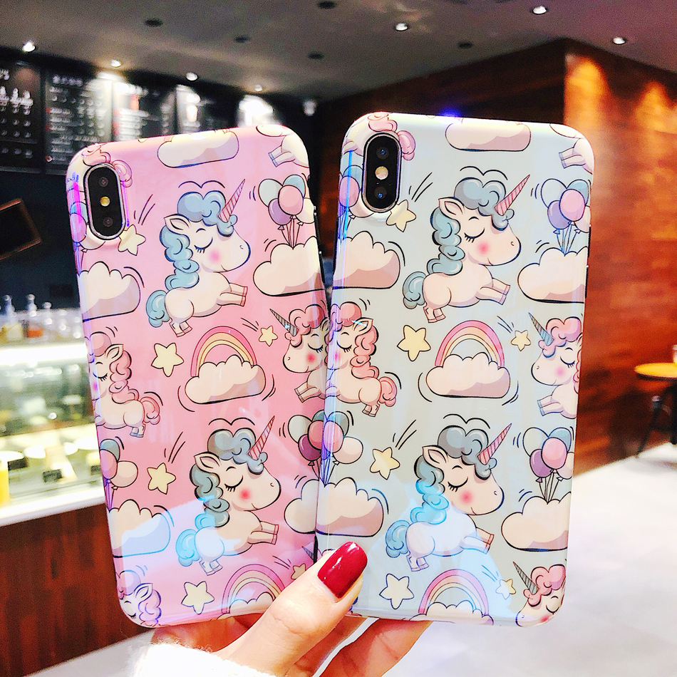Axbety For iPhone XS Max XR xs For iPhone 6 7 8 6s Plus case Fashion cute Pink Unicorn silicon Phone cover For iPhone 8 Plus