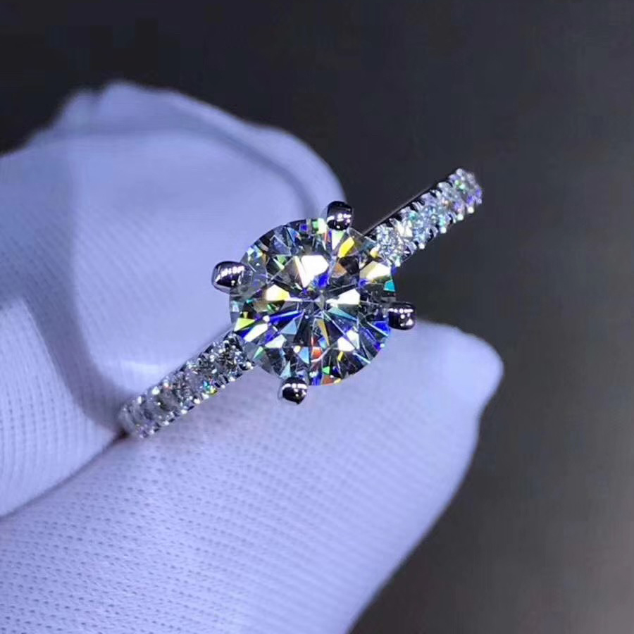 Pure 18K White Gold Ring 1ct 2ct 3ct VVS1 Moissanite Ring Trendy Style Wedding Jewelry Anniversary Ring Round Brilliant Cut