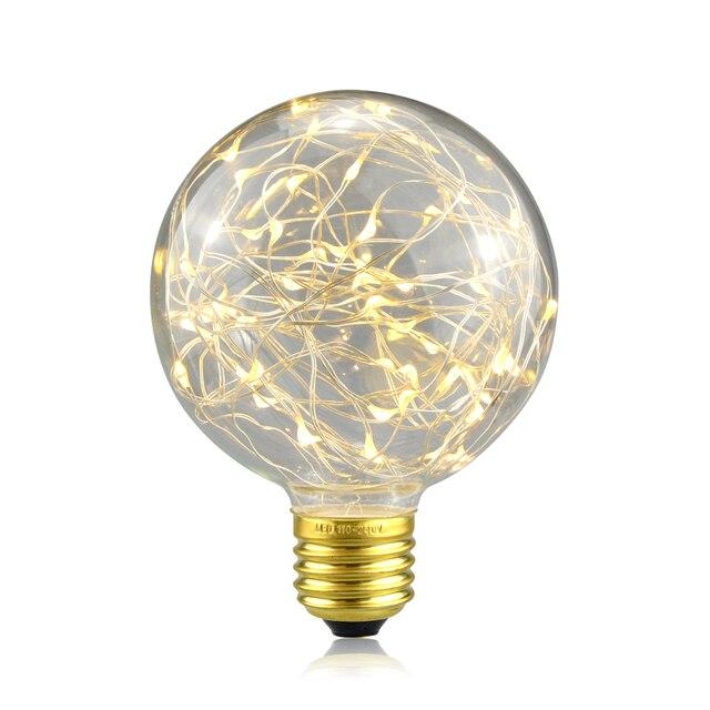 E27 110V 220V Retro Edison Fairy LED String Light Bulb RGB LED Holiday Light  Filament Lamp