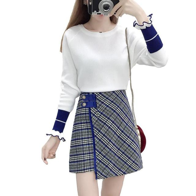 b360bc8e768 Women Autumn Winter Casual Warm Sets Ladies Petal Sleeve Knit Sweater Tops+ Asymmetrical Plaid Wool Mini Skirts 2 Pieces Set V515