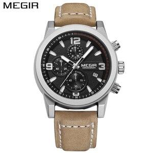 Image 2 - Megir Luxury หนังกีฬาผู้ชายนาฬิกา Casual Aramy ทหาร Chronograph ควอตซ์แบบชายนาฬิกา