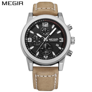 Image 2 - Top Brand Megir Luxury Leather Strap Sports Running Men Watches Casual Aramy Military Chronograp Quartz WrsitWatch Male Clock