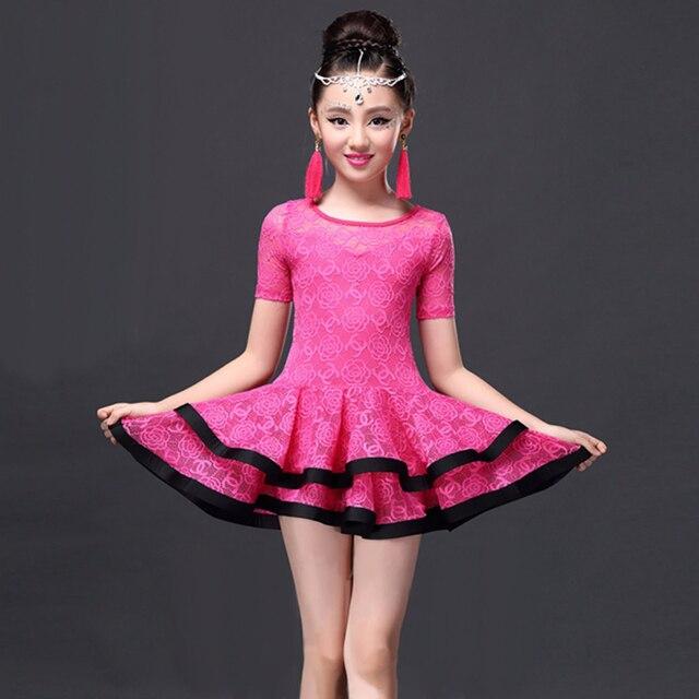 2018 Latin Dance Dress Children Girls Ballroom Dance Dresses Girl