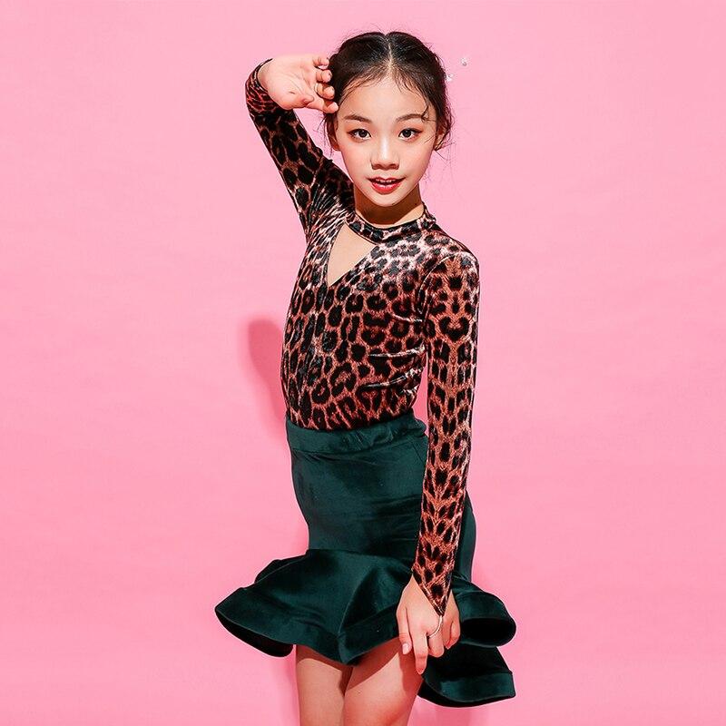 Classic Girls Latin Dance Costume Leopard Print Dancing Top Green Skirt Tango Practice Wear Kids  Ballroom Dancing Dress DC1446