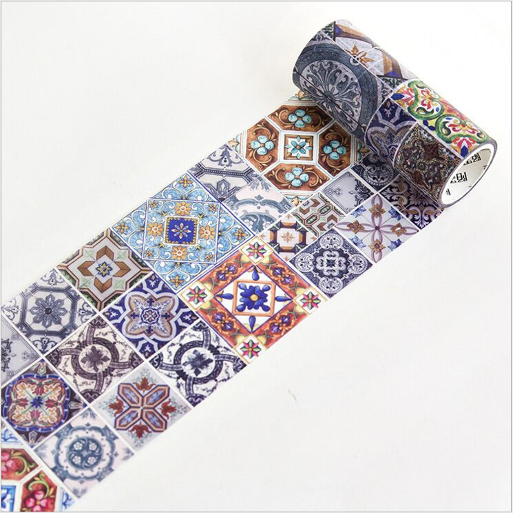 100mm Wide Retro Flower Tile Wall Printing Collage Decoration Washi Tape DIY Planner Diary Scrapbooking Masking Tape Escolar