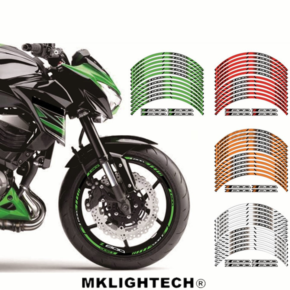 For Z 800 Motorcycle FIT for kawasaki Z800 12 X Thick Edge Outer Rim Sticker Stripe Wheel Decals in Decals Stickers from Automobiles Motorcycles