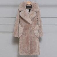 Искусственная шерсть модные пальто с искусственным мехом Женская куртка зимняя верхняя одежда 2018 искусственная Меховая куртка плюс Размер