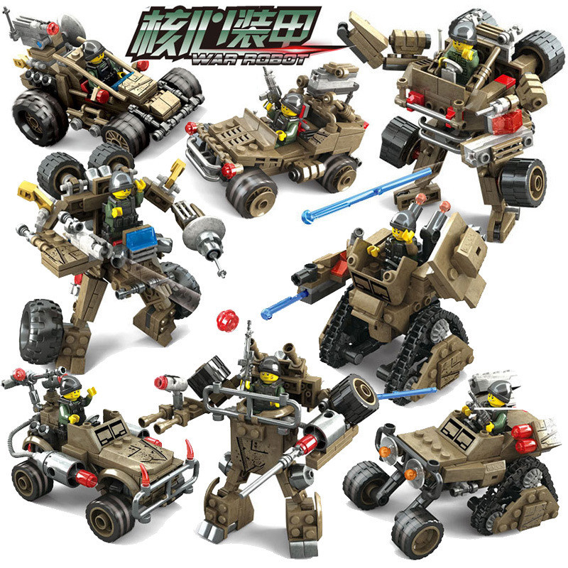 KAZI Star Wars 4Pcs/set 2 IN 1 Century Abrams Tank Cannon Deformation Hummer Cars Building Blocks Educational Toys for Children deformation of sea monster toy group underwater slasher 6 in 1 changed one piece suit educational toys