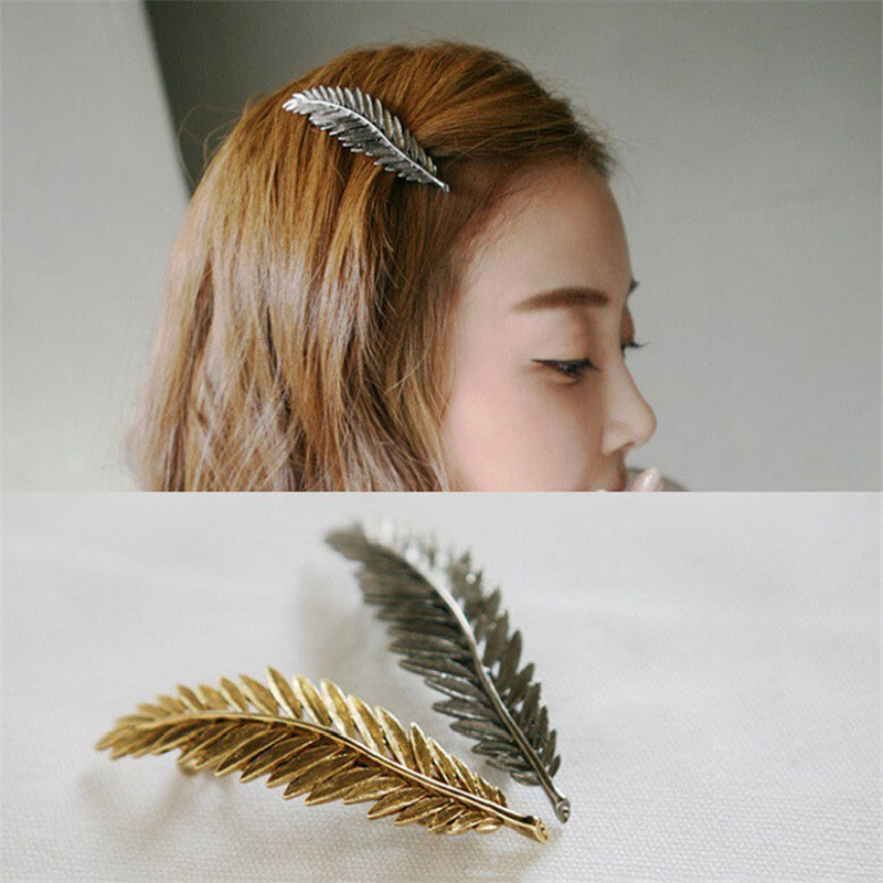 Korean Cute Gold Silver Bronze Leaf Girls Hair Clips Barrette Metal Hair Accessories For Women Accesorios Para El Pelo Headband Jewelry Sets & More