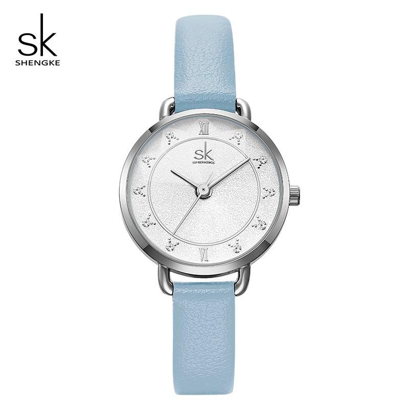 Shengke Creative Glitter Dial Women Leather Wrist Watch Movement Quartz Watches Slim Buckle Strap Reloj Mujer Montre Femme#K9001