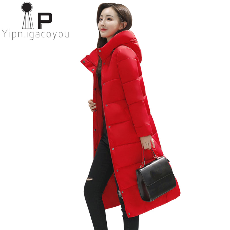 Корейские зимние парки, женское Красное длинное пальто, женский теплый пуховик, модная куртка с капюшоном, плюс размер, утолщенное черное па