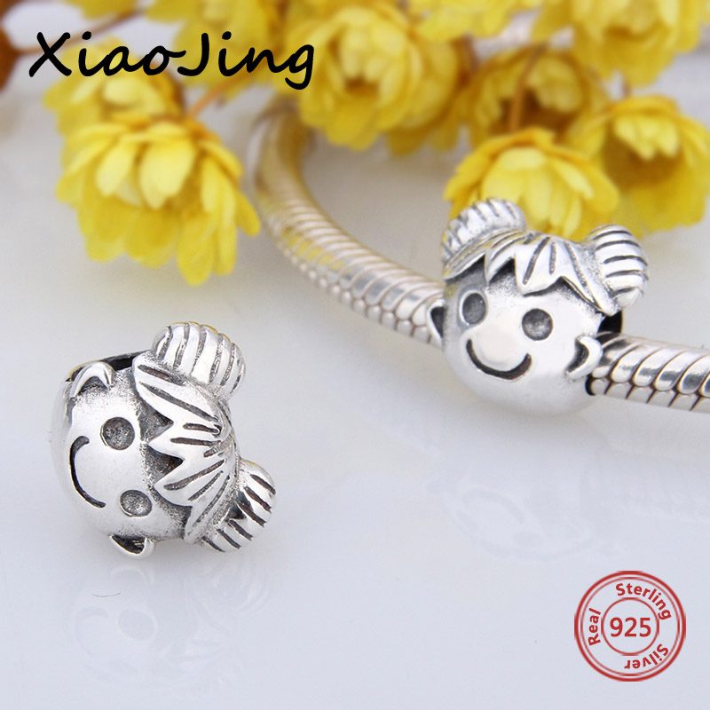 все цены на Fit Authentic Pandora Bracelets cute little girl charms 925 sterling Silver beads original diy jewelry making for women gifts