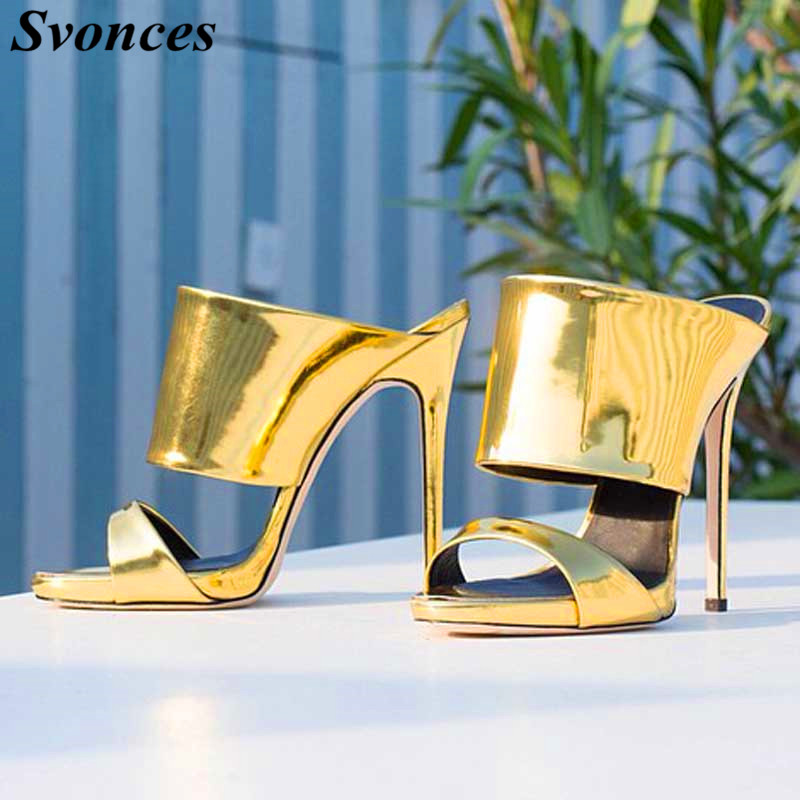 De Shown Mode Hauts D'été Mules Cuir Dame Mujer Femmes Shown En Sur Verni À Glissement Talons Chaussures As Rihanna Sandalias Or as Party Diapositives Sandales Métallique CvFwqPx4
