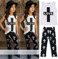 2 Pcs set!! Cool Baby Kid Girl Clothes LOVE Letter T-shirt O Neck Outfits Tops + Black Long Pant Trousers Set Clothes