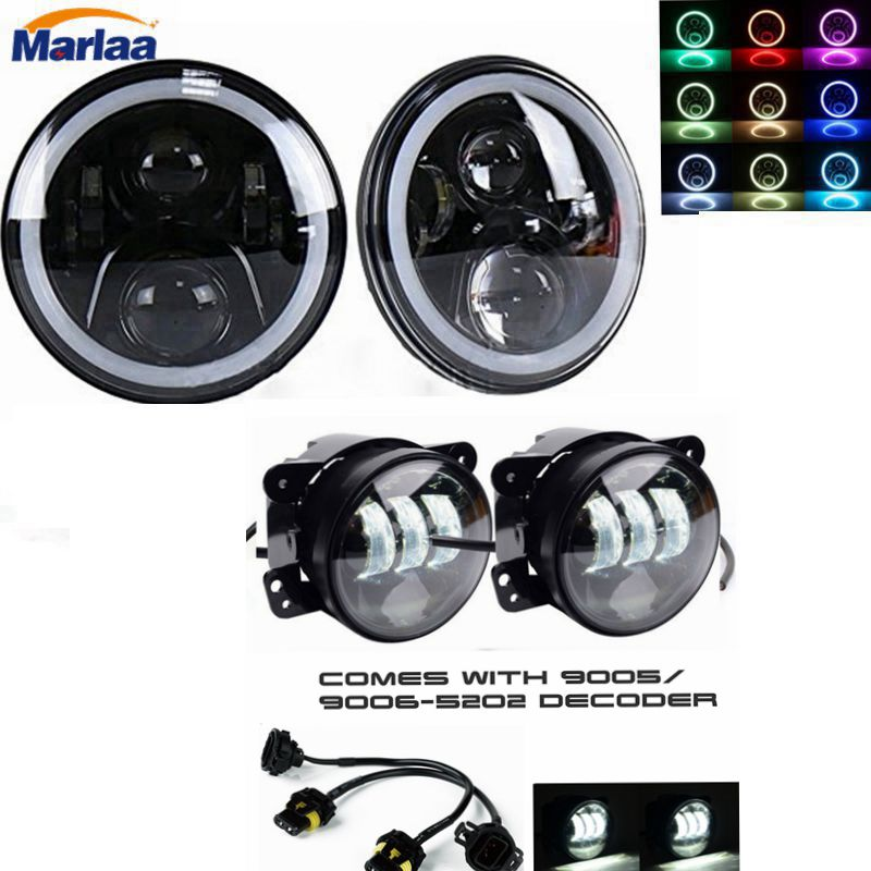 2X7 inch LED Projector Headlights with Multicolor RGB Halo + 2x30W 4 inch Led Fog Light For Jeep Wrangler TJ JK Hummer