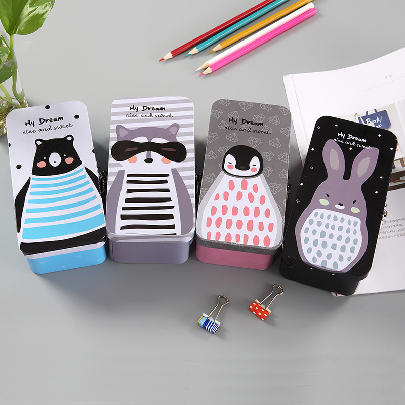 Cute cartoon creative stationery pencil case double layer thickened tinplate with lock pen box student stationery case pen bag minimalism iron tinplate creative stationery box tin pencil box with window cartoon pencil case school student gifts