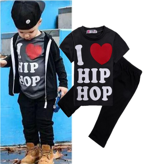 e3b5c976323c Hip Hop Baby Toddler Boys 2PCS Clothes Set T-shirt Tops Pants Kids Outfits  Clothes Baby Boys Clothes Set Boys Clothing Set 1-6Y
