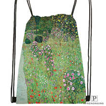 Custom Gustav_Klimt @4 Drawstring Backpack Bag Cute Daypack Kids Satchel (Black Back) 31x40cm#20180611-02-98