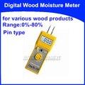 Цифровой измеритель влажности древесины контактный тип тестер анализатор для различных изделий из древесины диапазон: 0%-80% точность: 0.5%