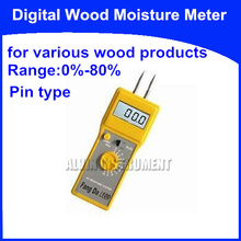 Free Shipping Pin type Digital Wood Moisture Meter Tester Analyzer   for various wood products  Range:0%-80%  Accuracy:0.5%