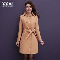 Elegant Ladies Winter Warm Woolen Coat Women Double Breasted Belted Office Long Coat Plus Size 5XL Wool Blends Trench Overcoat