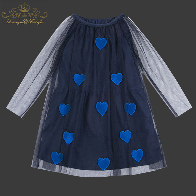 Girls Dresses 2018 New Brand Autumn Princess Navy Mesh Dress Kids Clothes Stars Applique Design for Baby Girls Clothes 2-10Y navy tiered design mini dress