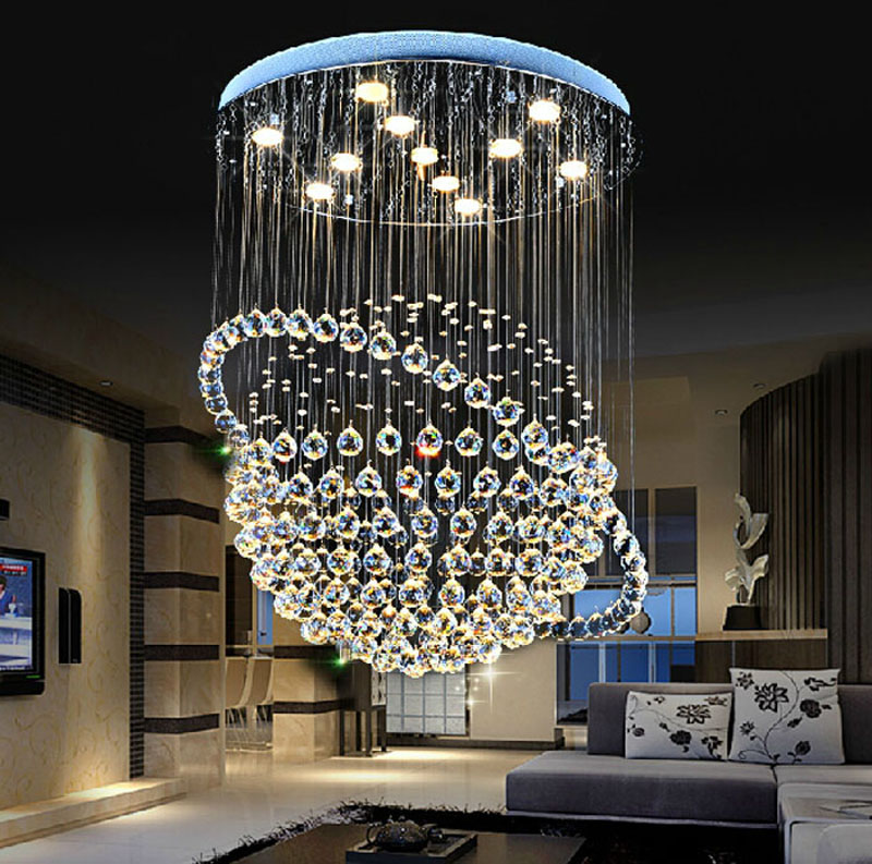 Crystal chandelier living room modern simple bedroom lamp round staircase chandelier creative dining room lamp dining room led modern crystal chandelier hanging lighting birdcage chandeliers light for living room bedroom dining room restaurant decoration