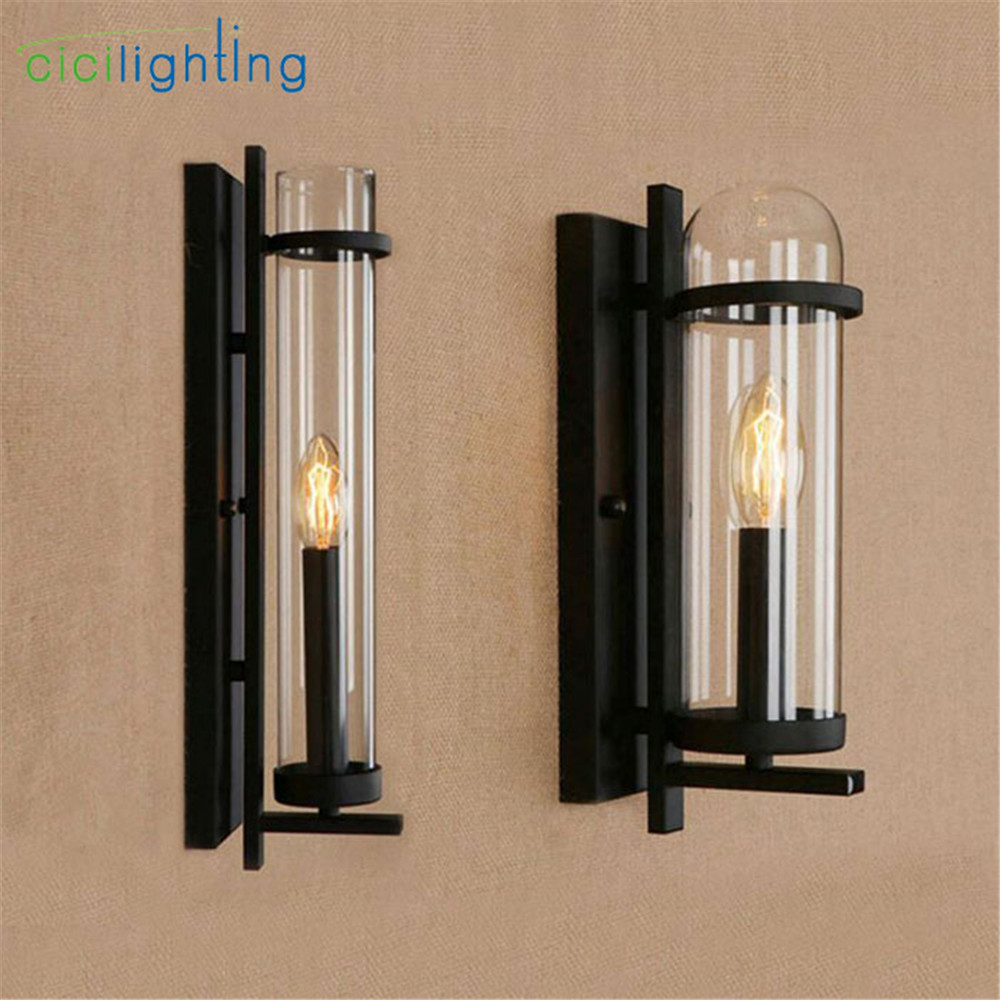 New glass LED wall lamp punk art decoration home industrial wall lights lighting E14 led candle bulb wall sconces home fixture