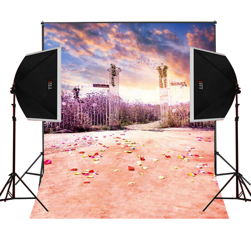 Iron gate flowers scenic for kids photos camera fotografica studio vinyl photography background backdrop cloth digital props