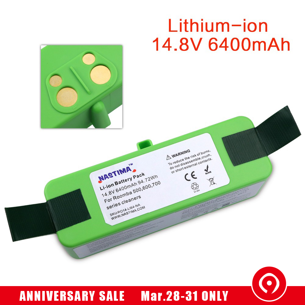 NASTIMA 14,8 v 6400 mAh литий-Батарея для iRobot Roomba Cleaner 500, 600, 700, 800, серии 980-600 620 650 700 770 780 800 880