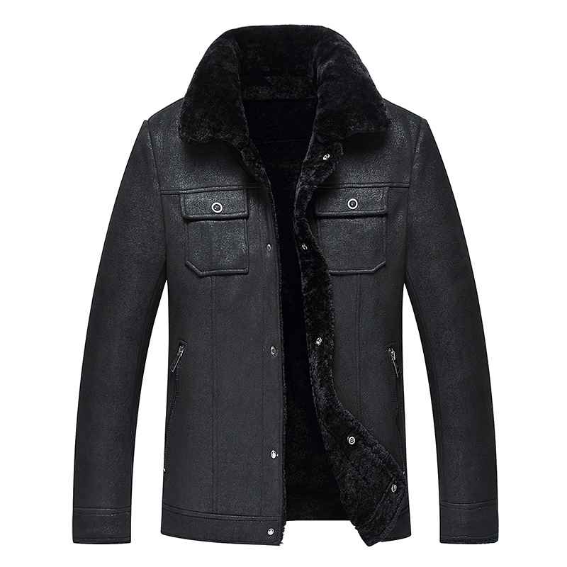 2019 High Quality Leather Jacket Men Faux Leather Coat Mens Leather Jacket Motorcycle Jacket Men Winter Leather Coat Fur Liner - 4