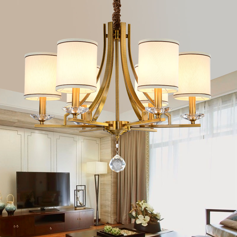 Modern Chandelier Fabric Lampshade Chandelier Lighting E14 Lustres Home Decoration Living Room Dinning Room