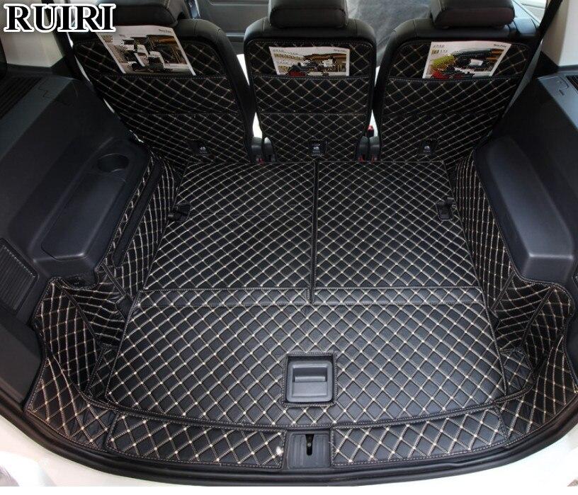 Qualité supérieure! Tapis de coffre de voiture complets pour Volkswagen Touran 7 sièges 2019-2015 tapis de coffre de cargo imperméables pour Touran 2018