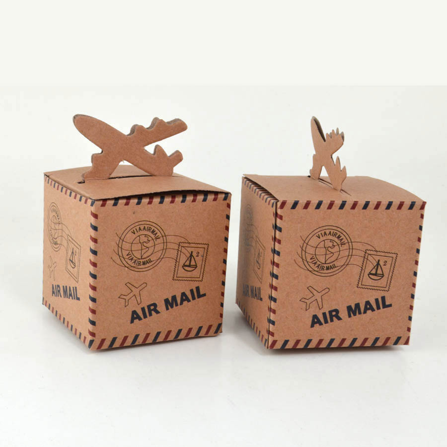 free shipping 50pcs Baby Air Mail Printed Candy Box for Baby Shower Favor Birthday Party Decorations Kraft Paper boxes