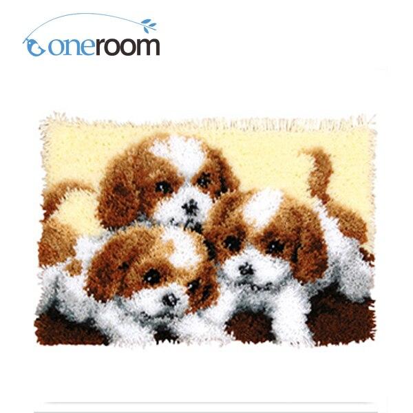 Oneroom Zd569 Drie Honden Haak Tapijt Kit Diy Unfinished Haken Garen