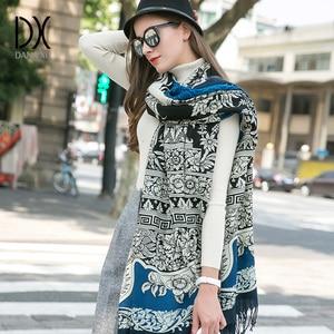 Image 4 - 2019 Fashion Scarves and Shawls Women Brand Scarf Wool Pashmina Wrap Winter Warm Cape Poncho Face Shield Bandana Muslim Hijab