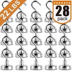 Магнитные Крючки, сильный Неодимовый магнитный крюк для дома, кухни, рабочего места, офиса и гаража, 22 фунта пакет из 28 мульти магнитов