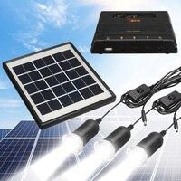 Portátil Panel Solar al aire libre luz LED Lámpara USB cargador jardín linterna LED de emergencia generador Kit sistema