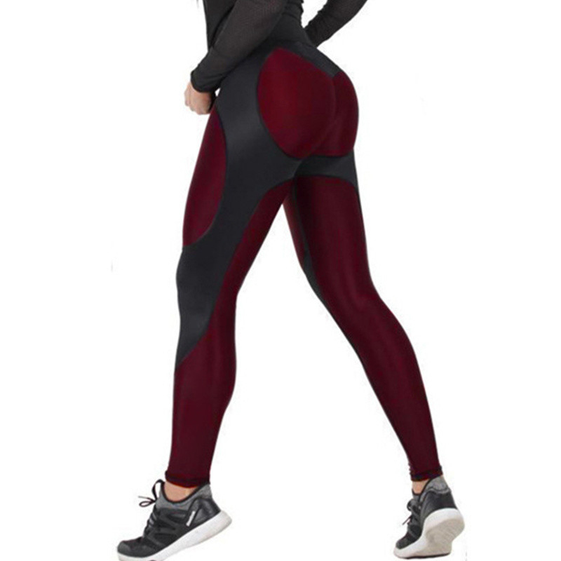 Women High Waist Leggings Fashion Patchwork Legging Fitness Push Up Leggings Elastic Workout Leggings For Women Polyester