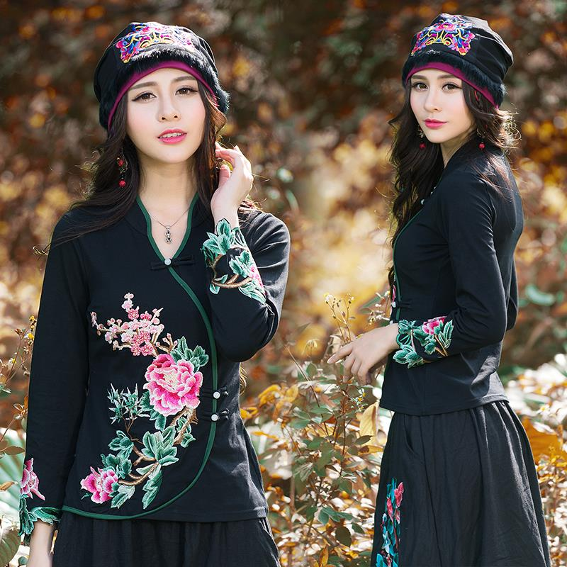 Cheshanf Ethnic Skullies Mexican Style Spring Autumn Brand Vintage Embroidery Flowers Bandanas Original Black Hat Free Shipping skullies
