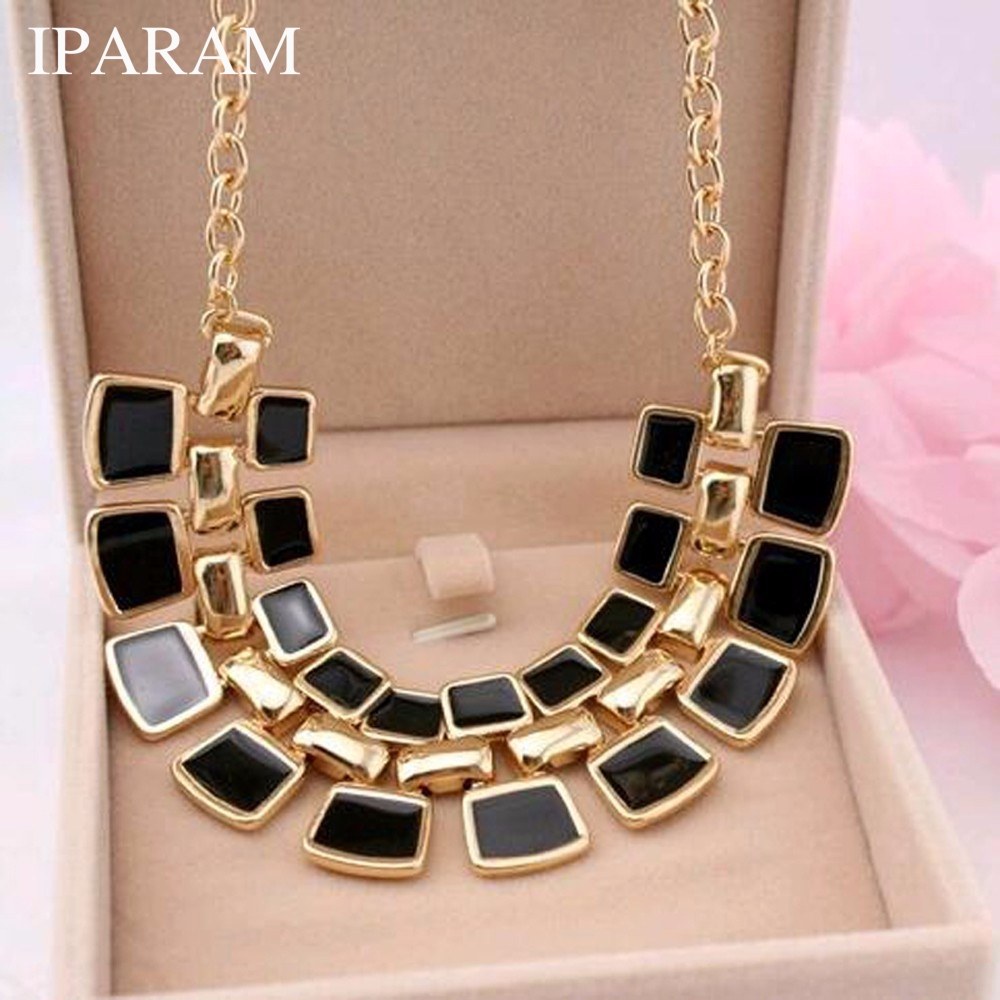 IPARAM 2020 Trendy Necklaces Pendants Link Chain Collar Long Plated Enamel Statement Bling & Fashion Necklace Women Jewelry