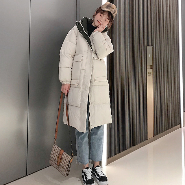 Hooded Ladies Coat Long Coats Parka oversize Colour jacket mid-long women winter thick jacket down jacket women winter 813