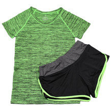 2 Pcs Women Yoga Sports Running Set Fitness Gym Tops Elastic Short Pants for Women+Sport Shirt Sports Set
