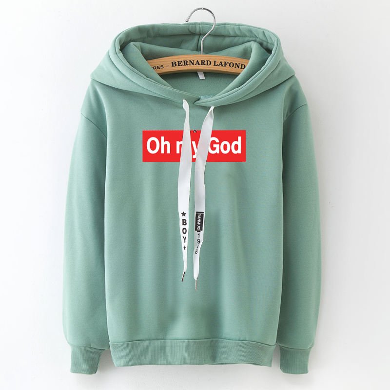 Suprem 2020 Hot Winter New Hooded Sweatshirt Casual Women's Hoodies Plus Velvet Loose Tops Fashion Printing Oh My God S To 3XL