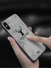 TPU edge Canvas Embossed Deer Phone Case For Iphone X Xs Max Xr 8 7 6 6s S6 Plus Cover On Apple IPhone 8plus 7plus