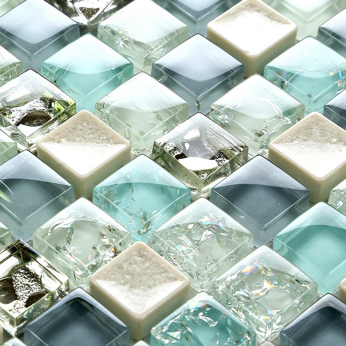 lovely mini square blue crackle glass mosaic crrystal tiles for kitchen backsplash tile bathroom shower mosaic children room