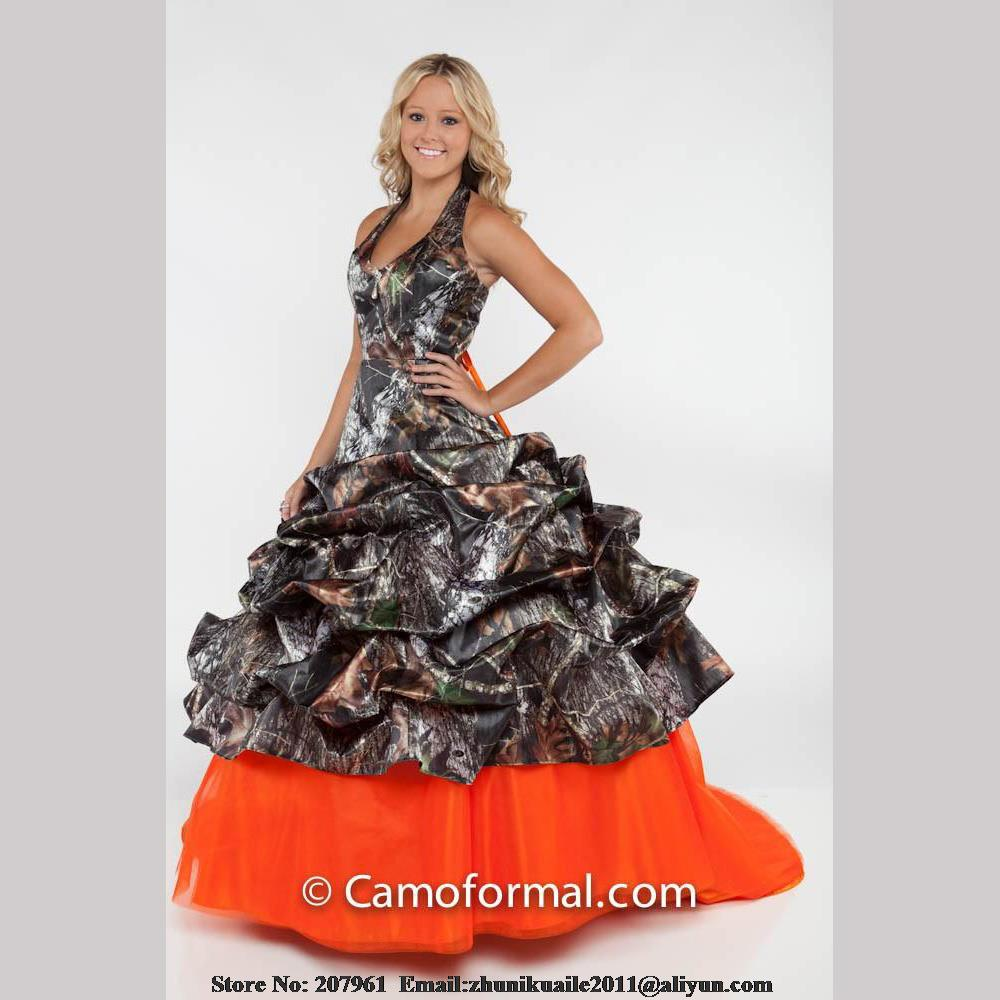 Orange camo wedding dresses 2016 halter camouflage bridal gown orange camo wedding dresses 2016 halter camouflage bridal gown 2016 modest robe de mariage custom made with train in wedding dresses from weddings events ombrellifo Image collections