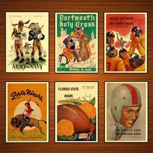 Vintage 1940s fútbol americano deportes anuncios cartel 1949 ejército vs Marina lienzo clásico pinturas pared pegatinas hogar Decoración regalo