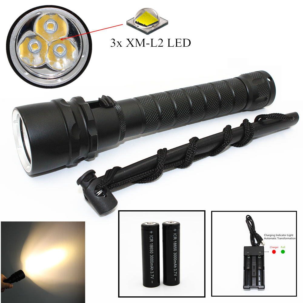 Yellow Light Diving Flashlight 3x L2 LED 3000LM Underwater Dive Light Waterproof Torch 18650 Lamp